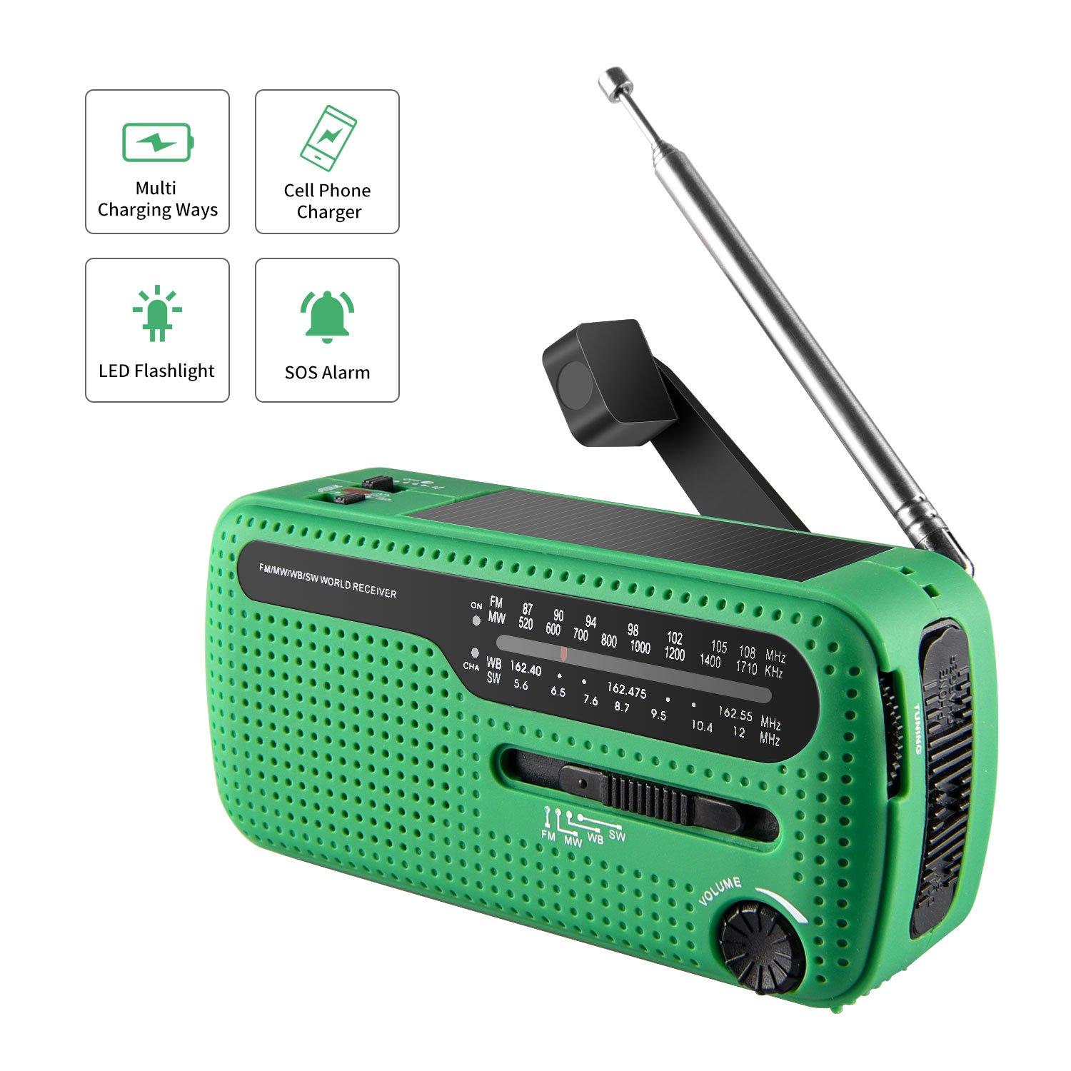 Weather Radio /& LED Light Rechargeable Batteries VIKUR Solar Hand Crank Emergency Radio and LED Flashlight Ideal for Emergencies and Outdoor Activities