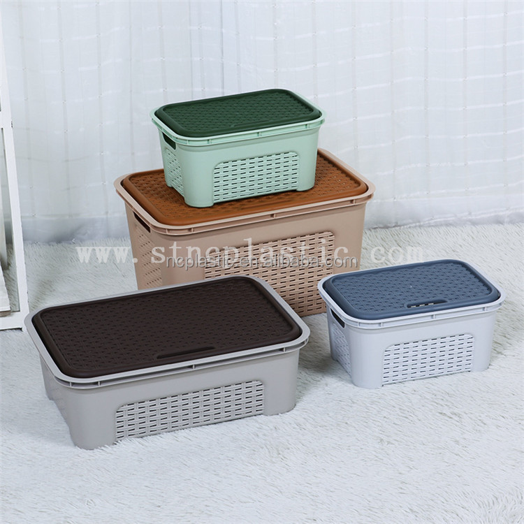 Plastic Rattan Storage Box with Lid Stackable Basket Container