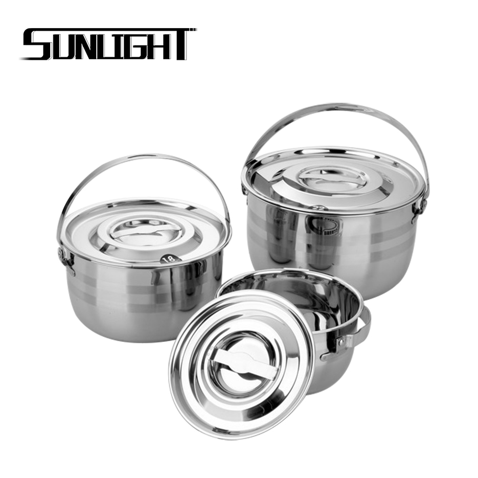 cheap 3 pcs stainless steel cooking pots camping cookware set with handle