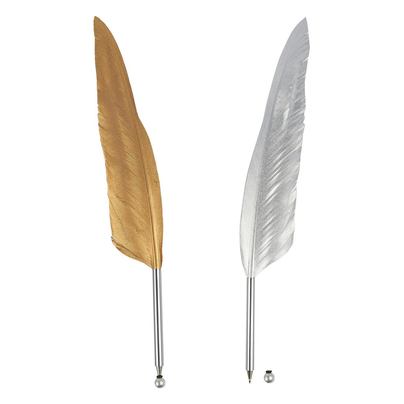 Feather Ballpoint Pens – 2-Count Feather Calligraphy Pens, Quill Luxury Pens for Writing, Signatures, Executive Desk Pens, Gold and Silver, 12.4 Inches in Length
