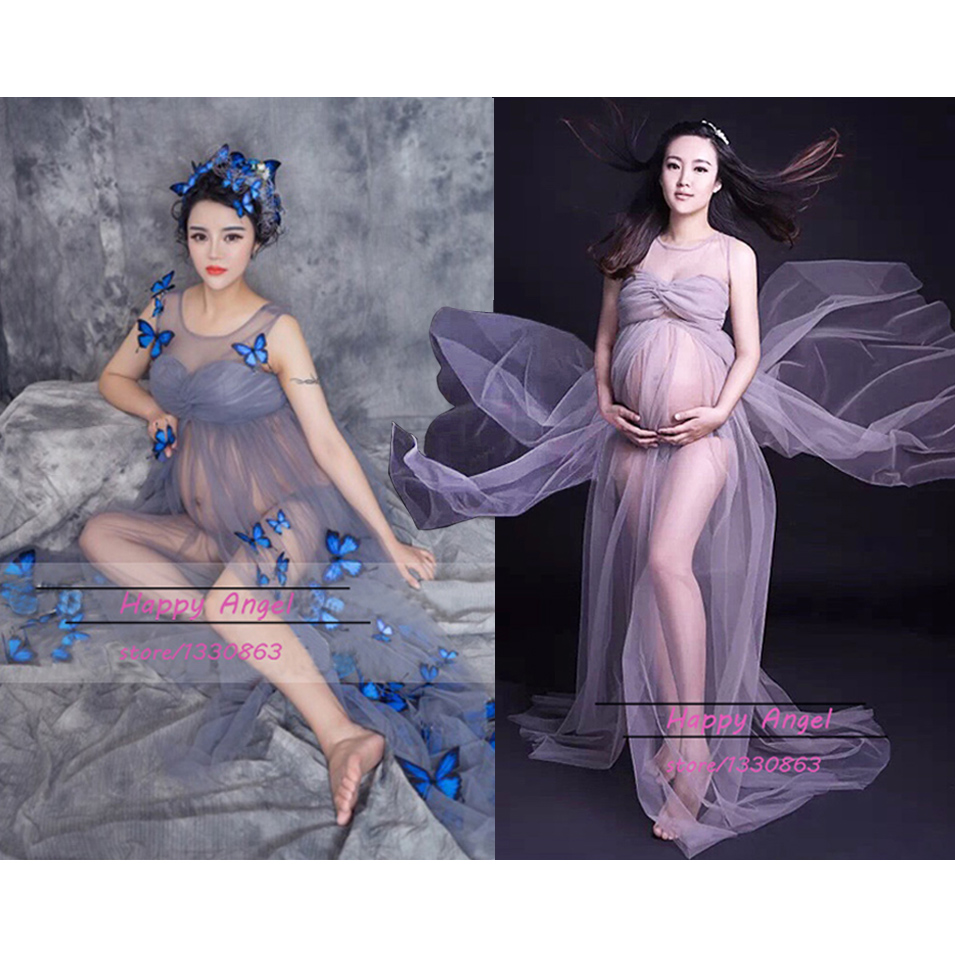 World Cup Big Sale Silver Gray Gown Two Layer Gauze Studio Maternity Photography Props Pregnant Women