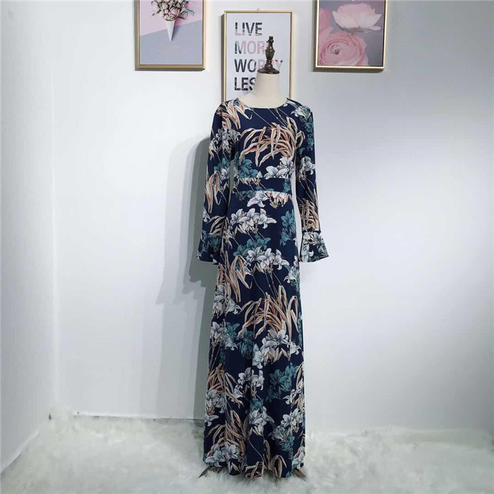 2019 Dubai Muslim Fashion islamic abaya clothing with fancy flora printing