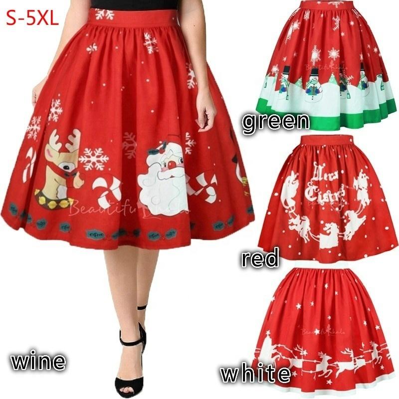Women A-Line Christmas Short Skirts Snowman Xmas Tree Santa Claus Reindeer Print Casual Mini Dress Plus Size S-5XL фото