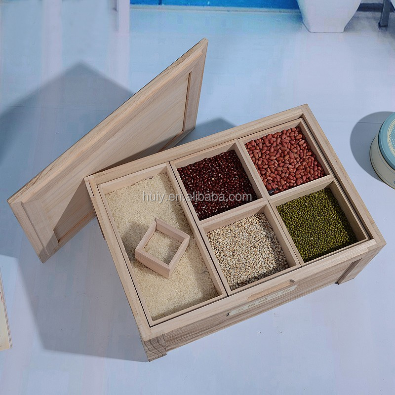 China supplier big square wooden rice storage container