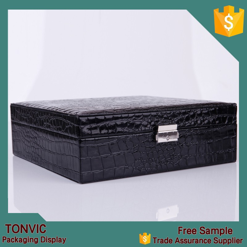 Black Antique Faux leather jewelry set box travel large design manufacturers
