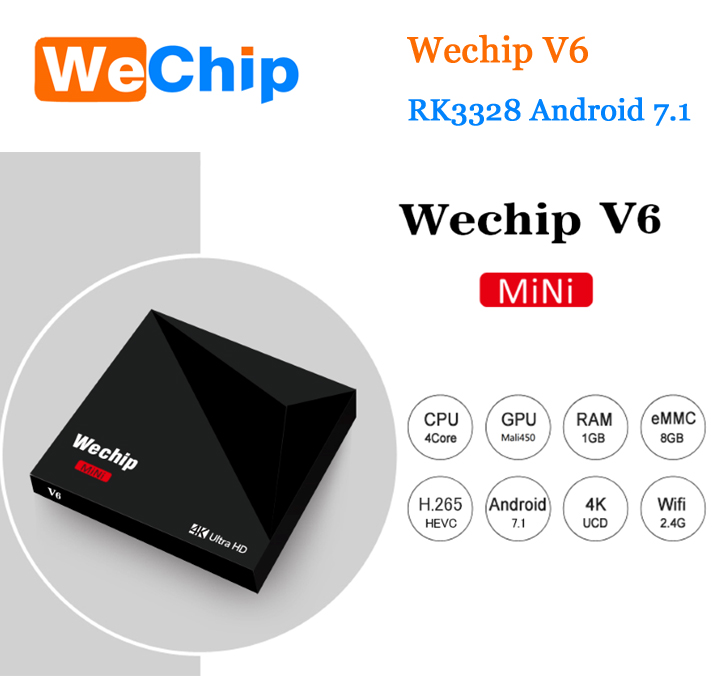 2018 Venta caliente android 8,1 smart sintonizador de tv box player HD 4 K rk3328 wechip v6 tv box