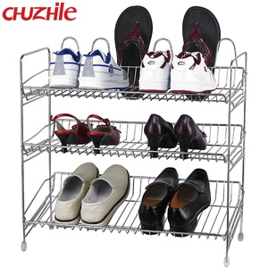 Stainless steel or iron OEM stand closed 3 layer shoe rack malaysia