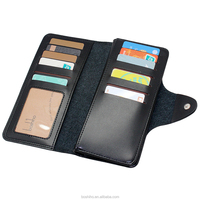 OEM custom design genuine leather card holder purse RFID long wallet