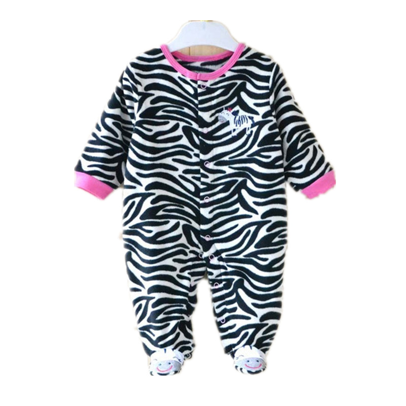 5199e55bb19a 0-12M Spring Fleece Baby Rompers Cute Black Stripe Zebra Baby Girl Clothing  Infant Girls Clothes Jumpsuits Footed Coverall V20
