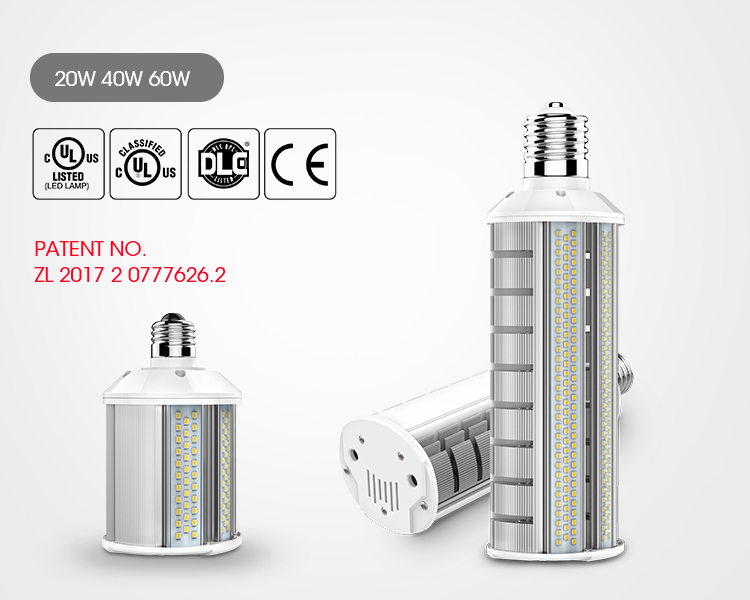 HID replacement 180degree  LED corn bulb light 20W/40W/60W  led corn light 100-277vac For Parking Area Light