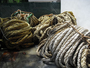 Used PP ropes or Nylon Ropes used in Marine