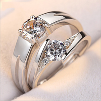 taidian brand new design fashion luxuly wedding rings his and hers 925 solid silver ring engagement couple rings