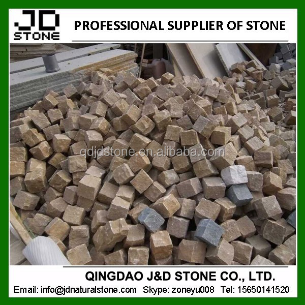natural split cube stone/ yellow sandstone cubed