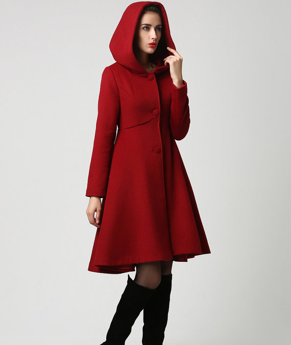Mode Femmes Laine Rouge Midi Robe De Manteau D Hiver Avec