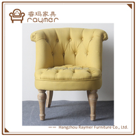 Yellow linen Neo classic home decorate buttoned tufted accent chair