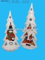 handpainted ceramic christmas ornament tree candle holder