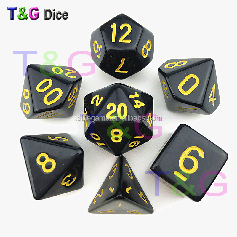 New series of TRPG Dungeons And Dragons Board Game dice with Solid Color
