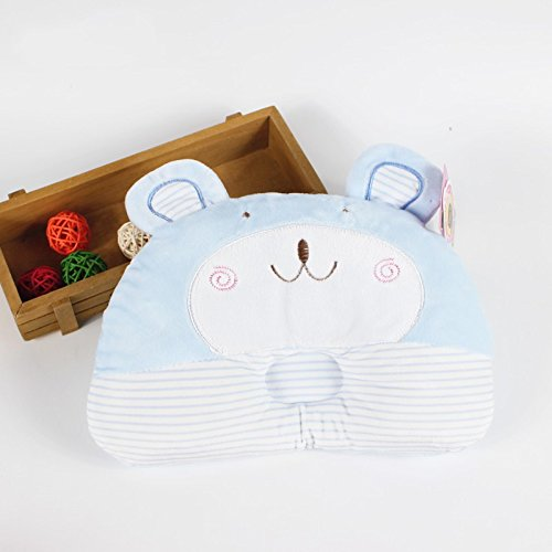Kangkang@ Blue Bear Toddle Infant Baby Protective Flat Head Anti-roll Head Support Pillow the Baby to Finalize the Design Pillow 3 D Cartoon Sculpt Practical Newborns to Finalize the Design Pillow