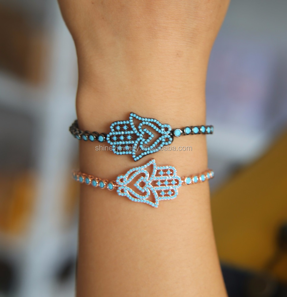 2017 yiwu <strong>jewelry</strong> wholesale 2.5mm turquoise stone rose gold black gold plated fashion luxury tennis turkish hamsa hand bracelet