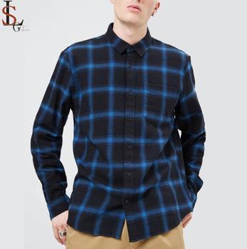 The fashion plaid flannel  custom royal blue flannel shirts for men 100 % cotton with curved hem design shirts