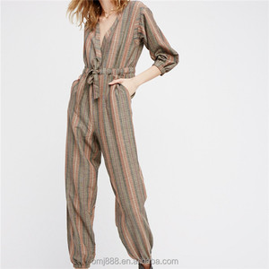 2017 china factory directly sale chestnut Long sleeve v ncek baggy stripe jumpsuit