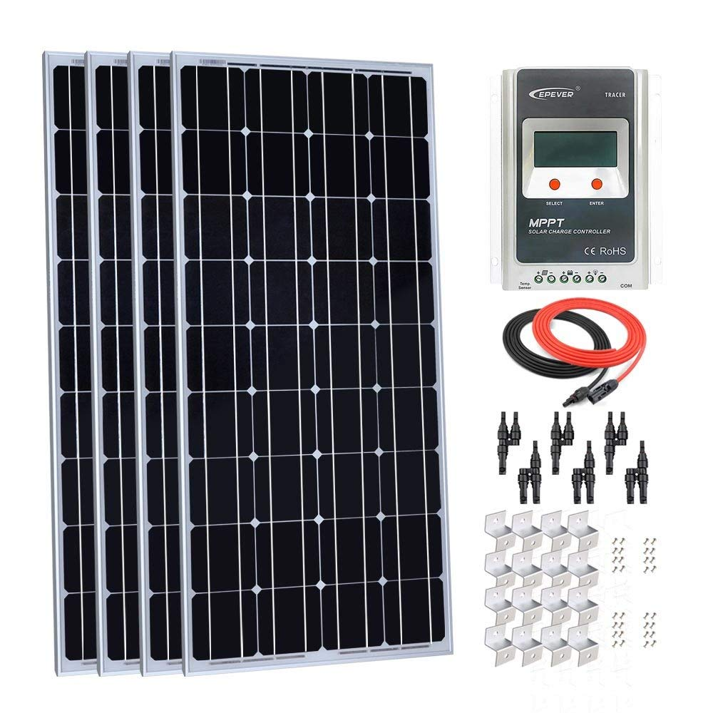 Giosolar 400W 12V Monocrystalline Solar Panel Kit with LCD MPPT 40A Charge Controller + Red/Black Cable + Y Branch Connector + Mounting Z Brackets for RV Boat Off-Grid