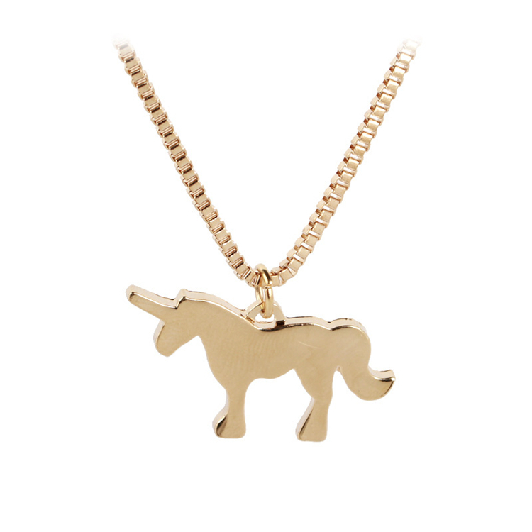 Wholesale Simple Delicate Animal Unicorn Pendant Necklace