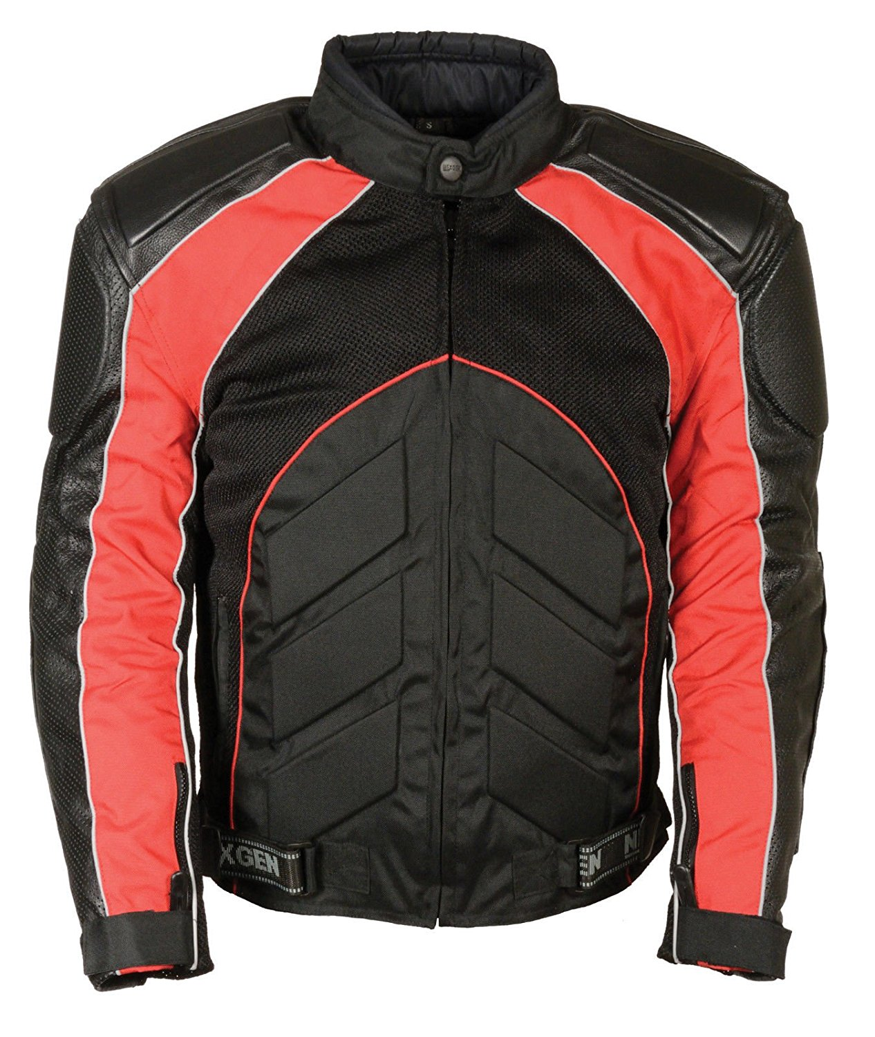 Shaf MEN'S MOTORCYCLE PERFORATED LEATHER & MESH RACER JACKET W/ARMOUR PROTECTION RED (M Red)