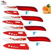 "FINDKING High Quality Red Flower Painted Ceramic Kitchen fruit Knife Set Kit 3"" 4"" 5"" 6'' inch + Peeler+Covers"