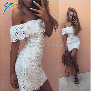 dongguan clothing off shoulder boob tube top wedding dress bodycon lace dress