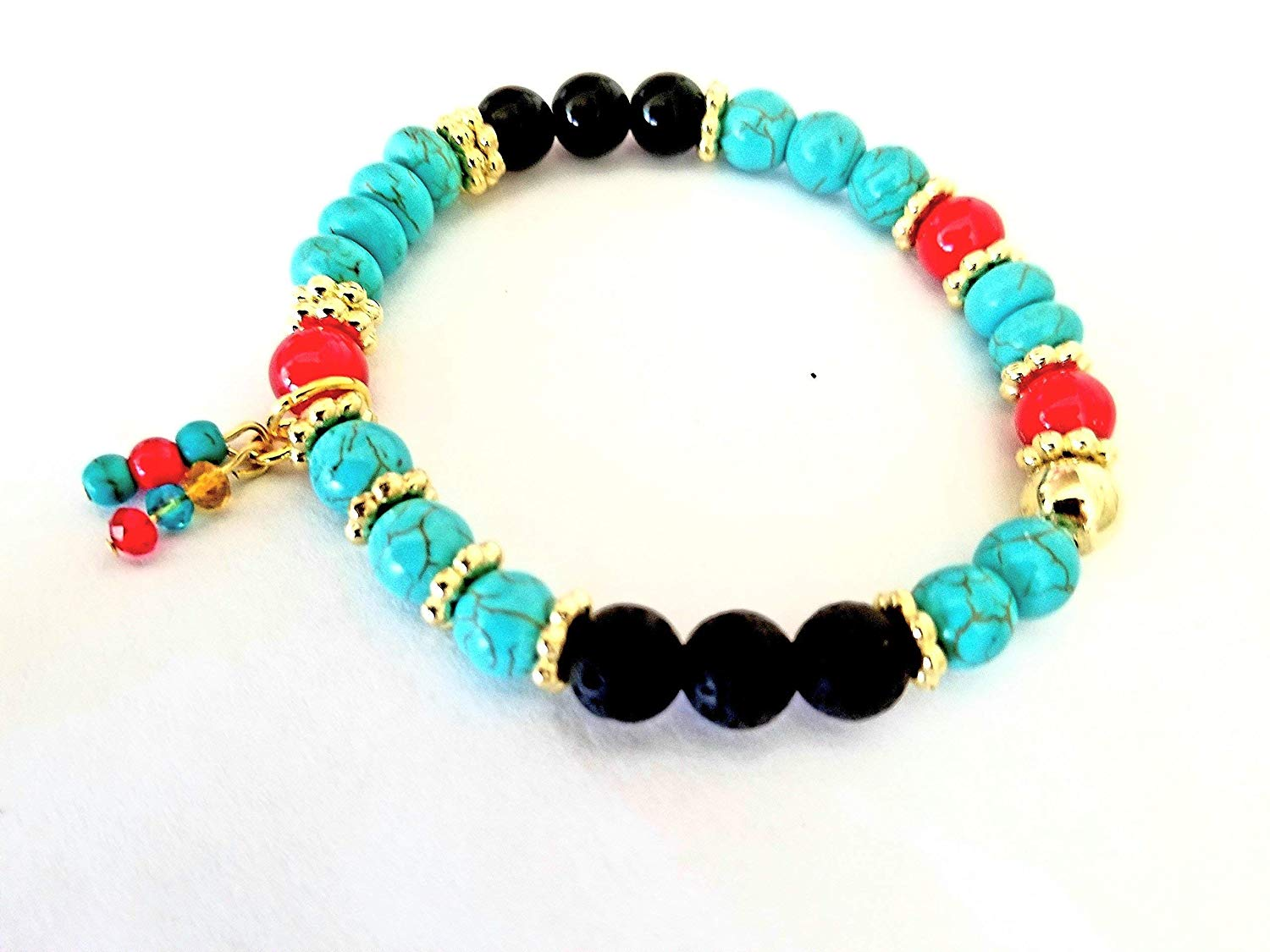 Stone Bead Stretch Bracelet with Red Coral, Turquoise, Onyx, and Lava Stone Essential Oil Diffuser Beads