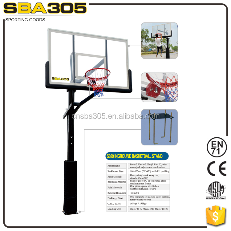 professional ground Basketball system with Acrylic backboard