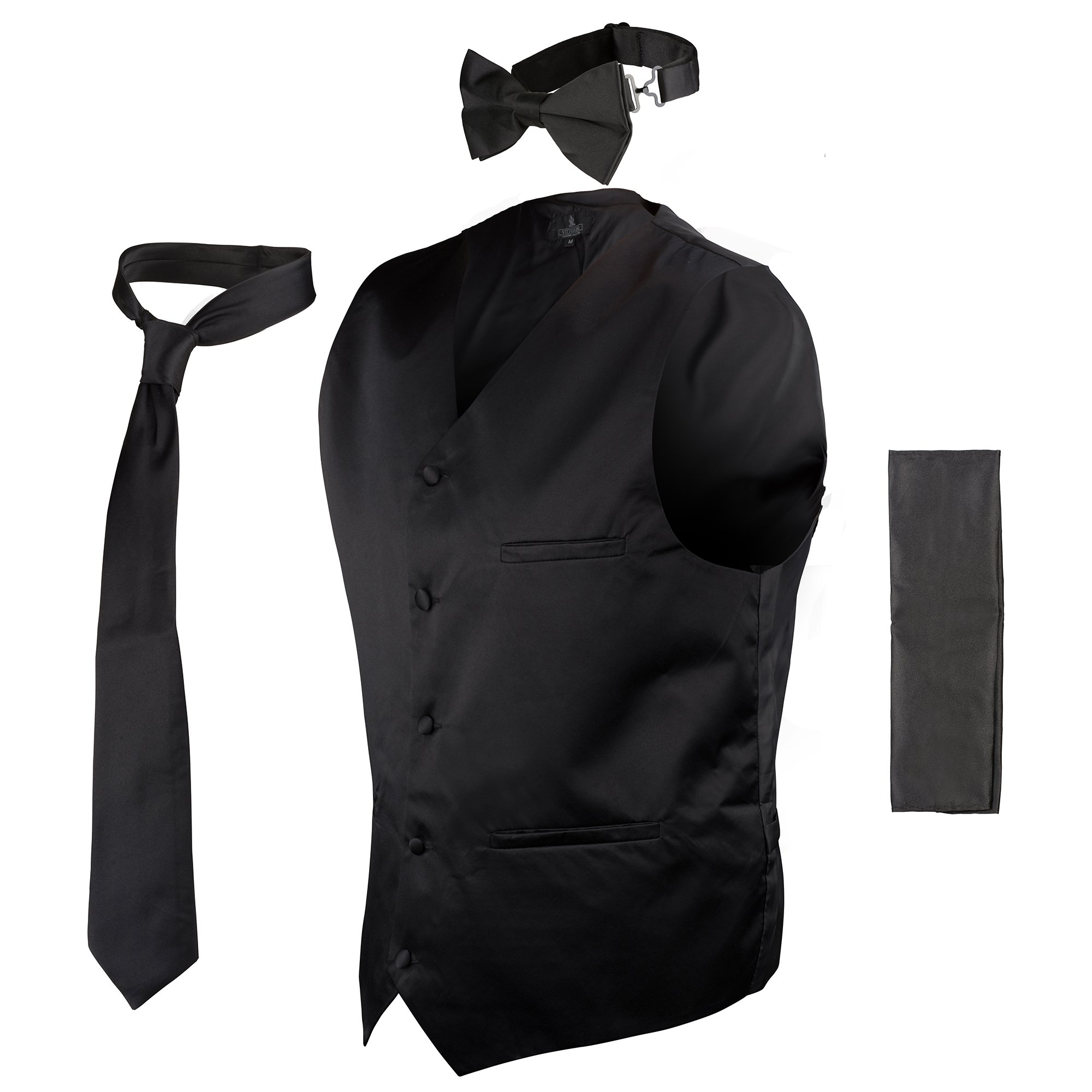b92707c2bf76f Get Quotations · Vittorino Mens 4 Piece Formal Vest Set Combo with Tie Bow  Tie and Handkerchief