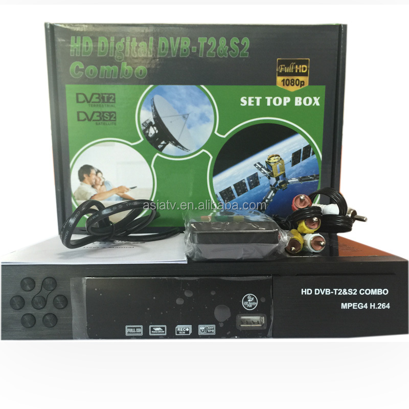 DVB T2 + S2 Combo <strong>FTA</strong> <strong>Receiver</strong> Set Top Box <strong>HD</strong> <strong>satellite</strong> PowerVu decoder Biss key PVR