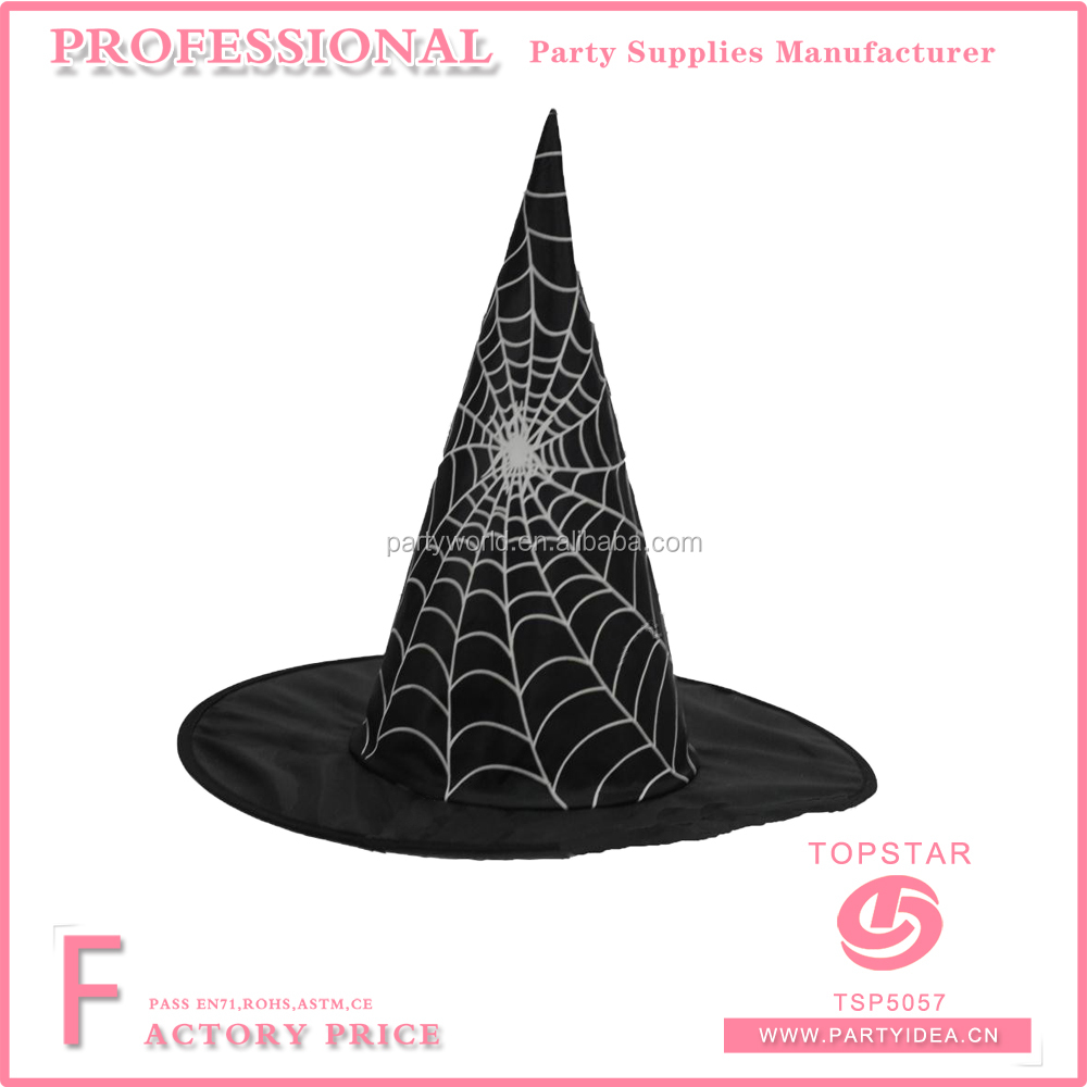 Design witch hat fancy spider web printed on the black polyester hat for halloween