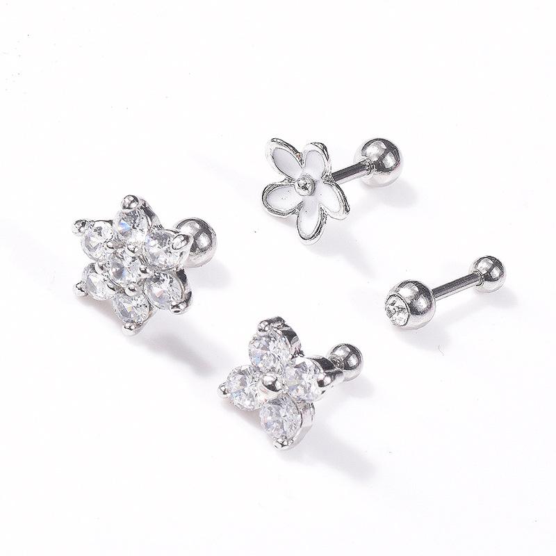 VRIUA Titanium Steel Silver Floral Crystal Daisy Cartilage Piercing Ear Lobe Daith Piercing Lip Piercing Rings Facial Piercings фото