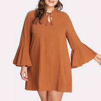 Tie neck long sleeve plus size dresses 4xl 5xl 6xl 7xl