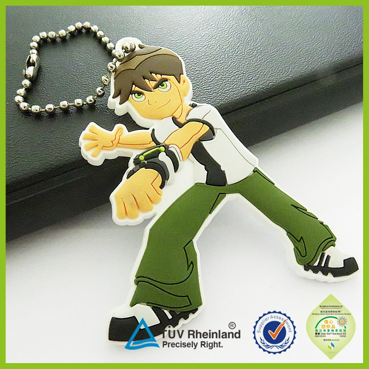 accept customized production cute anime 2D/3D pvc rubber japanese keychain