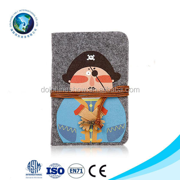 Cartoon Pirate Kids School Items Book Felt Diary Portable Notebook Office Stationary