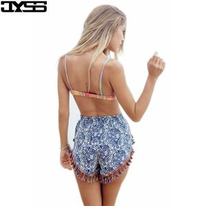 favourable price manufactureBohemia blue and white porcelain famous family style printed tassels decorative casual shorts female