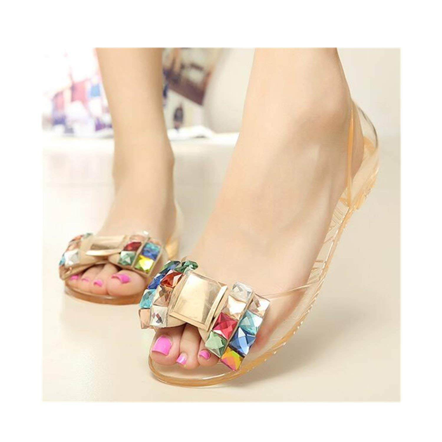 c1d3ca2dbcc4 Get Quotations · Saneoo Women Sandals Summer Style Bling Bowtie Jelly Shoes  Woman Casual Peep Toe Sandal Crystal Flat