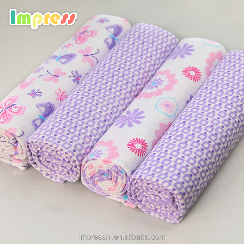 baby blanket wholesale 4pc coloful printed soft touch cotton flannel baby receiving blankets sale