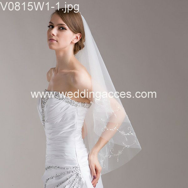 V0815W1-1Hot Sale Beautiful Beaded Bridal Veils for Wedding