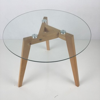 Hy16315 Round Glass Coffee Table Modern Glass Top Wooden Centre