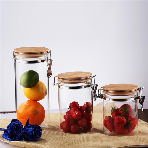 600 ml hava geçirmez cam kavanoz metal klips kapaklı mutfak için cam kavanozlar