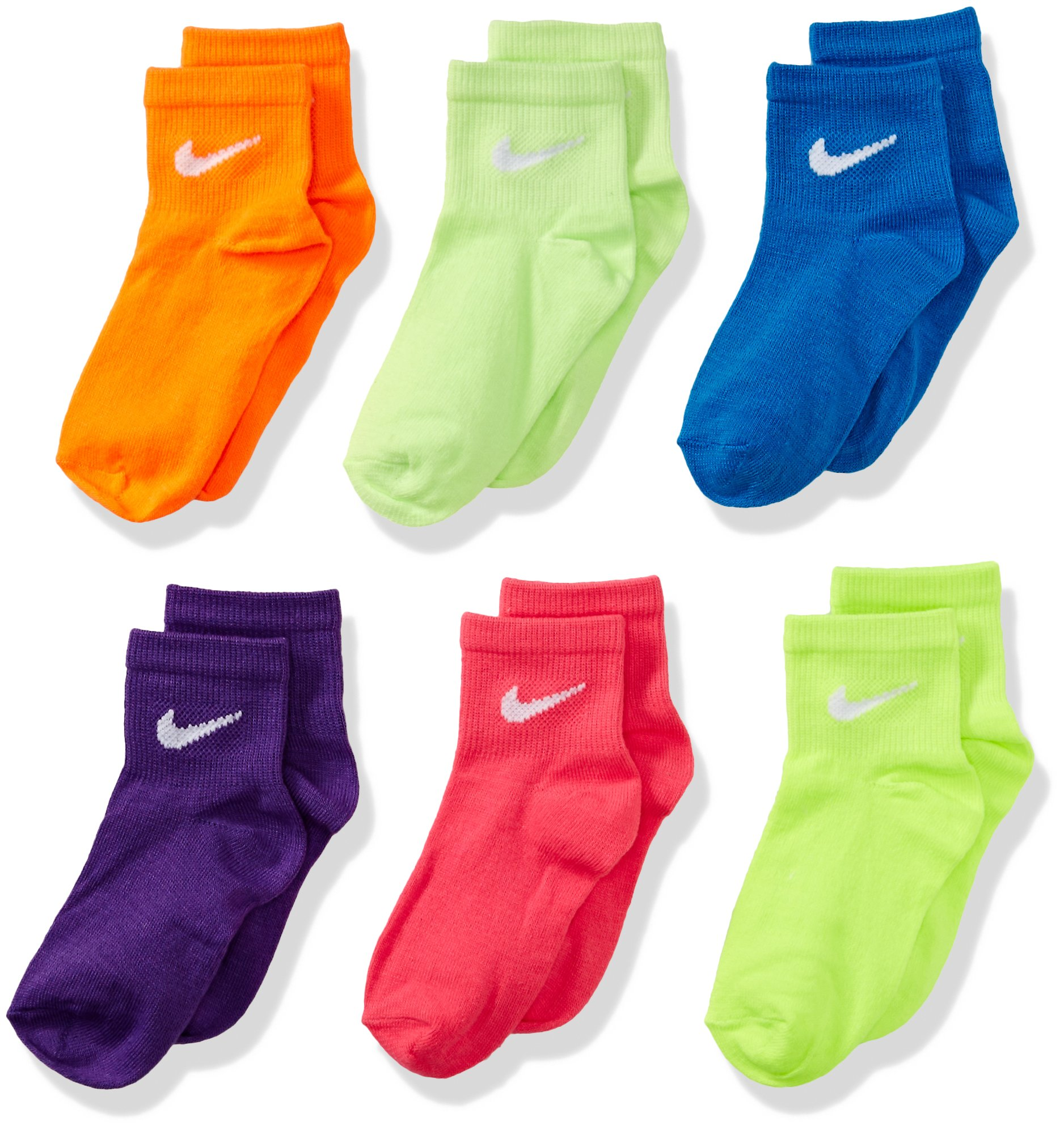 Nike PINK WHITE Color Toddler Girls Socks Size 6-7 US Shoe Size 13C- 3Y bTpsn