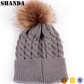 Baby Knitted Hats with Fur Pompom Ball Kids Baby Unisex Cute Winter Warm  Beanies Hats 0423b4e6434