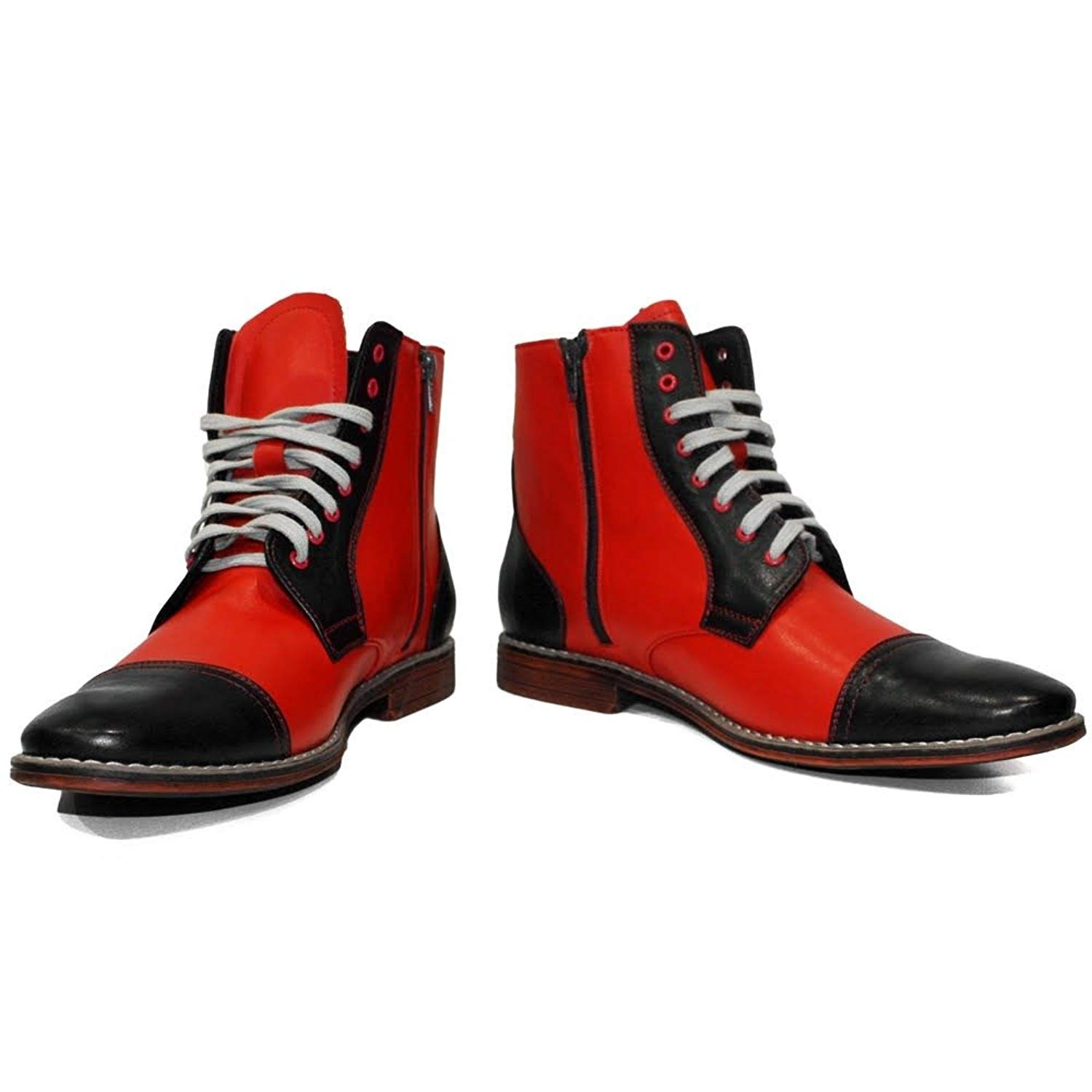 PeppeShoes Modello Beetle - Handmade Italian Mens Red Ankle Boots - Cowhide Smooth Leather - Lace-up