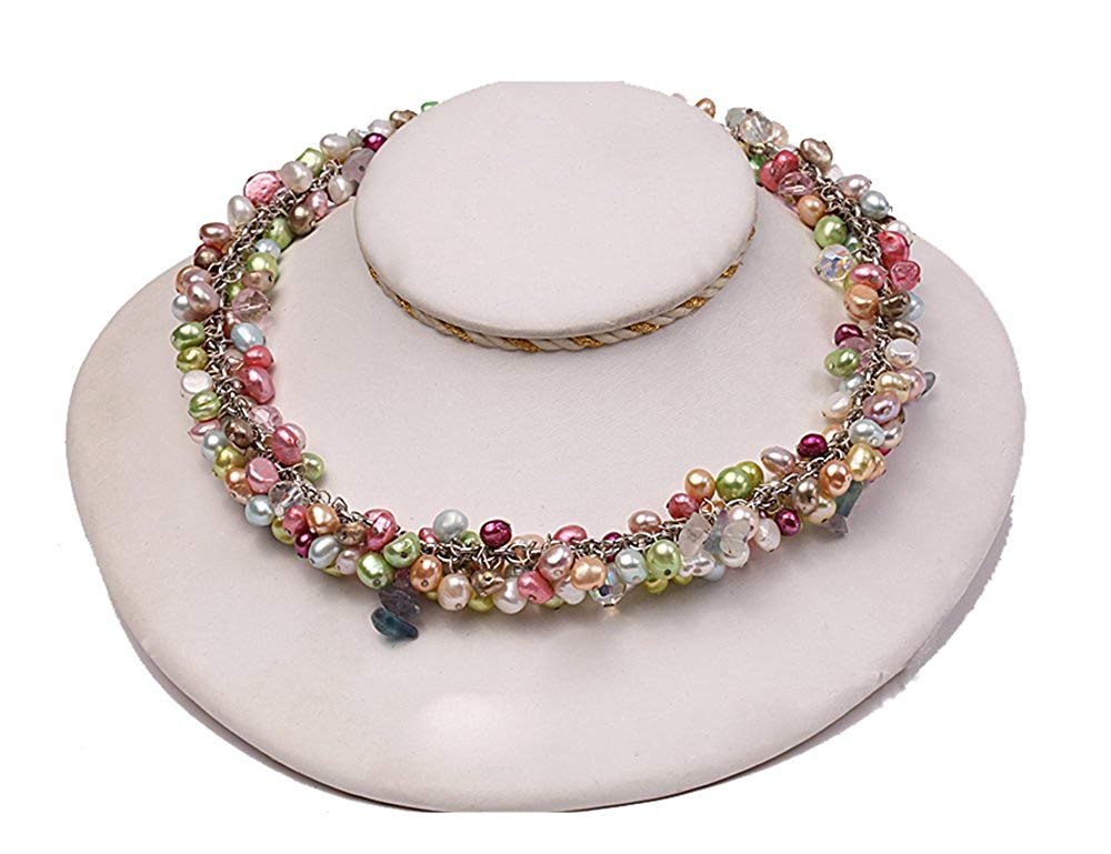 JYX 7-8mm Multi-color off-round Freshwater Pearl Necklace with Drop-shaped Crystal Beads