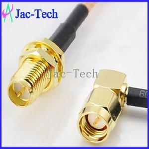 RF cable assembly SMA male right angle to RP-SMA female bulkhead with RG316 cable assemble jumper